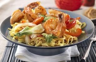 Photo Recette Crevettes à l'orange et au Gingembre avec Pak-choï et Nouilles