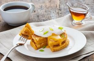 Photo Recette Crêpes aux Patates Douces avec Oeufs Pochés