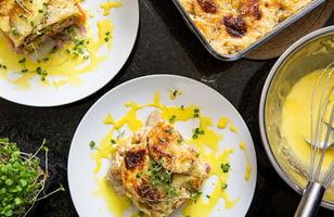 Photo Recette Gratin Étagé de Patates Douces Poireau et Jambon Forêt Noire