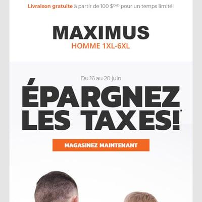 Image de la Promotion Épargnez les Taxes!