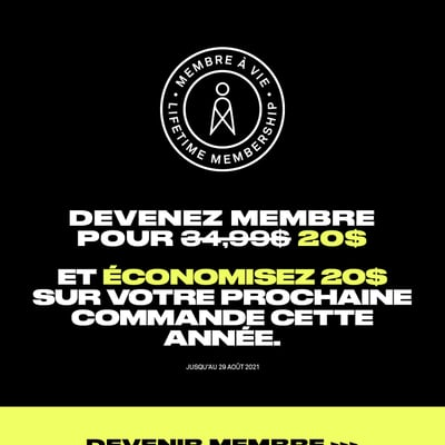 Image de la Promotion Devenez membre et obtenez 20$