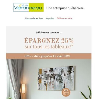 Image de la Promotion Épargnez 25% sur TOUS les Tableaux!