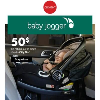 Image de la Promotion Baby Jogger: 50$ de Rabais sur le Siège d'Auto City Go